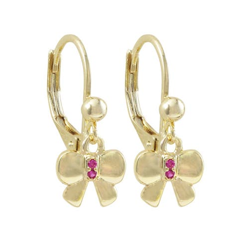 Luxiro Gold Finish Lab-created Ruby Bow Children's Dangle Earrings