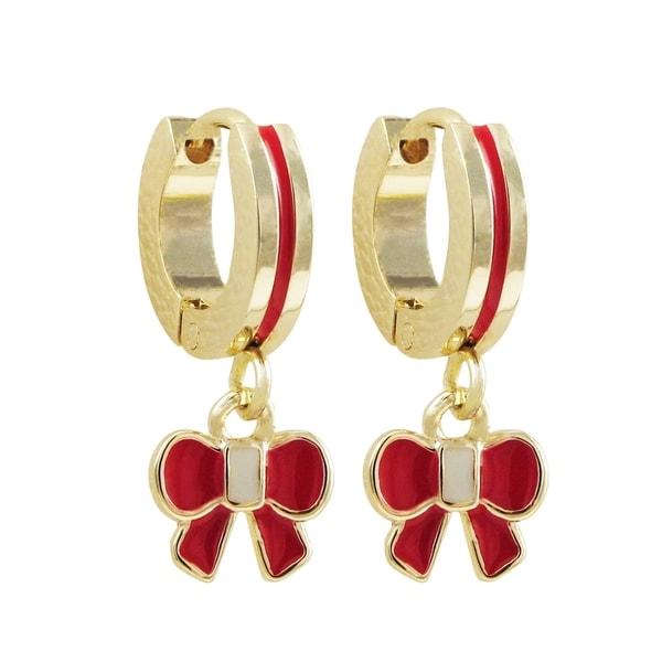 Luxiro Gold Finish Heart Enamel Children's Hoop Dangle Earrings
