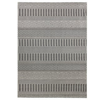 Alfresco Multi Pattern Dark Grey Indoor/ Outdoor Rug (5'3 x 7'6)