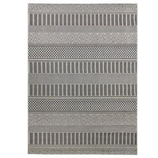 Alfresco Grey Polypropylene Multi-patterned Indoor/ Outdoor Rug (5'3 x 7'6)