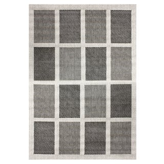Alfresco Squares Grey Indoor/Outdoor Rug (5'3 x 7'6)