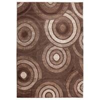 Inspiration Circles Chocolate Brown Polypropylene Area Rug (5'3 x 7'5)