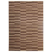 Inspiration Urban Chocolate Brown Geometric Area Rug (5'3 x 7'3)
