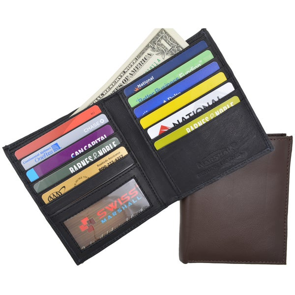 BLACK brown black men genuine leather bifold hipster id credit cards zip wallet