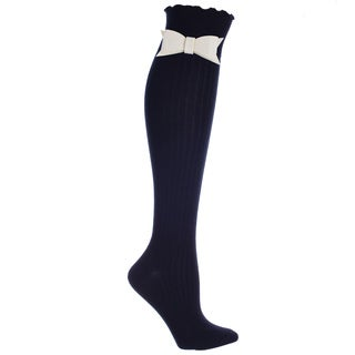 Ladies Black Ribbed K-H Sock with Snap On Bow Tie