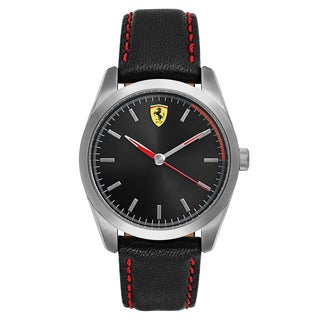 Ferrari Men's D50 Leather Black Japanese Quartz (Battery-Powered) Watch