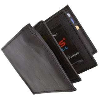 Swiss Marshal RFID Men's Leather Bifold Fixed Flip 3 Window ID Wallet