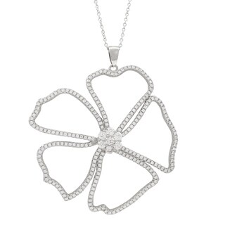 Luxiro Rhodium Finish Sterling Silver Open Flower Cubic Zirconia Pendant