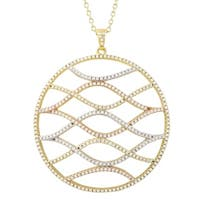 Luxiro Tri-color Finish Sterling Silver White Cubic Zirconia Pendant On Chain