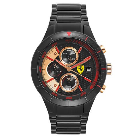 Ferrari Men's Red Rev Stainless Steel Black Ion Plated Black Japanese Quartz (Battery-Powered) Watch