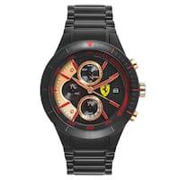 Ferrari Men's Red Rev Stainless Steel Black Ion Plated Black Japanese Quartz (Battery-Powered) Watch