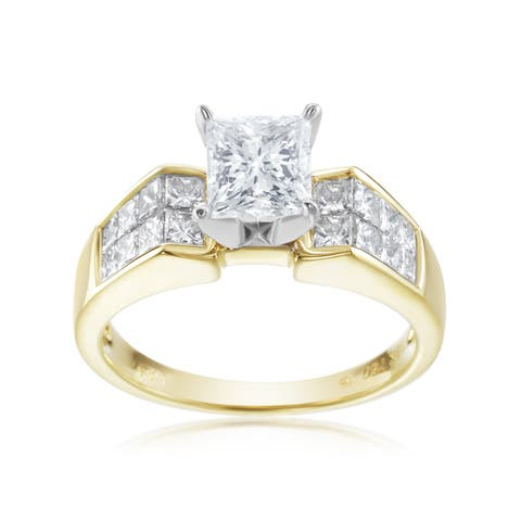 SummerRose 18K White Gold Two Tone Princess Cut Engagement Ring, 2.09ct TDW