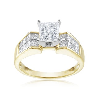 SummerRose, One of a Kind Two Tone 18k Princess Cut Diamond Ring