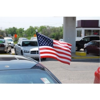 "USA Fabric Flag with Car Window Clip 12"" x 17"" (Made In US)"