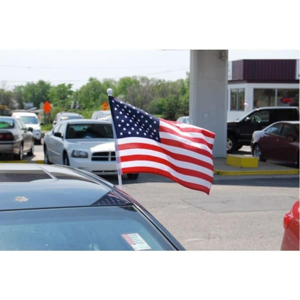 """USA Fabric Flag with Car Window Clip 12"""" x 17"""" (Made In US)"""