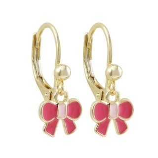 Luxiro Gold Finish Enamel Bow Children's Dangle Earrings (Option: Small)