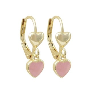Luxiro Gold Finish Enamel Heart Children's Dangle Earrings (3 options available)