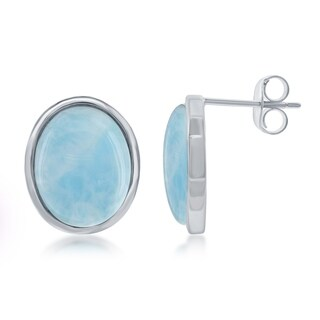 Sterling Silver Oval Natural Larimar Gemstone Stud Earrings
