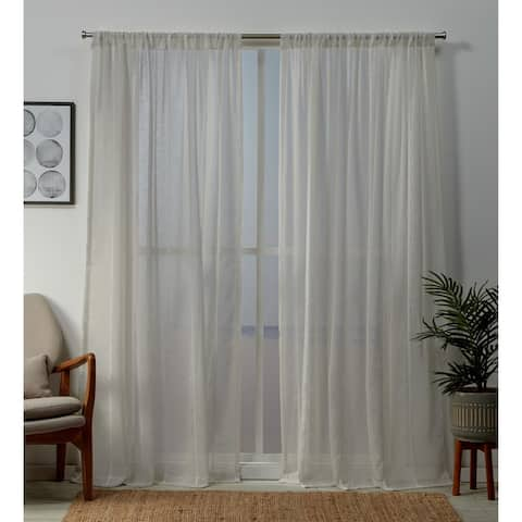 ATI Home Santos Embellished Sheer Rod Pocket Top Curtain Panel Pair