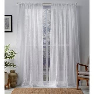 ATI Home Santos Embellished Sheer Rod Pocket Top Curtain Panel Pair