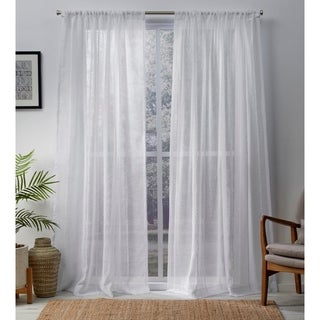 ATI Home Santos Linen Sheer Curtain Panel Pair with Rod Pocket