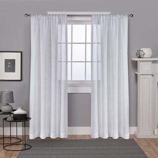 ATI Home Foil Belgian Linen Sheer Rod Pocket Top Curtain Panel Pair