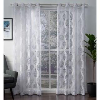 ATI Home Birmingham Burnout Sheer Grommet Top Curtain Panel Pair