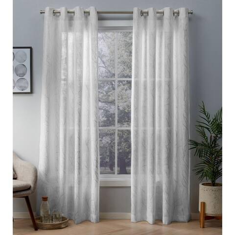 ATI Home Woodland Metallic Print Sheer Grommet Top Curtain Panel Pair