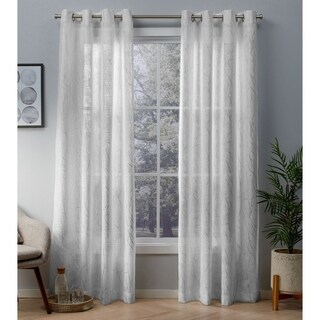 ATI Home Woodland Metallic Print Sheer Grommet Top Curtain Panel Pair (More options available)