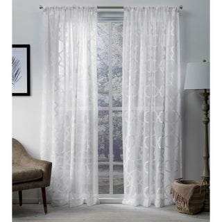 ATI Home Muse Jacquard Sheer Rod Pocket Top Curtain Panel Pair