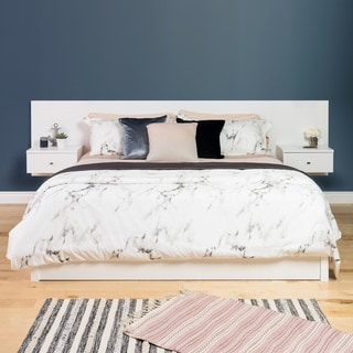 White Floating King Headboard with Nightstands