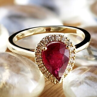 Auriya 14k Gold 1 1/2ct Pear-Shaped Ruby and 1/6ct TDW Diamond Halo Engagement Ring - Red