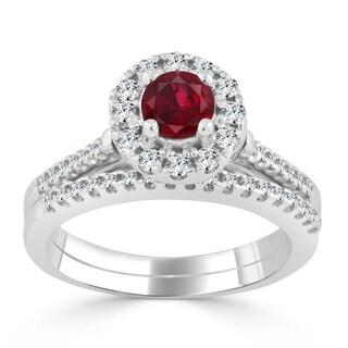 Auriya 14k Gold 2/5ct Ruby and 1/3ct TDW Round Diamond Halo Wedding Ring Set