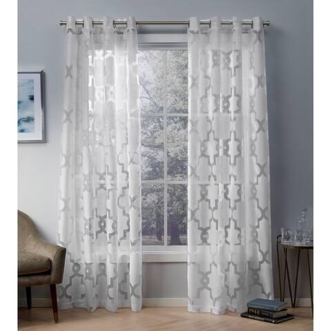 ATI Home Essex Geometric Sheer Grommet Top Curtain Panel Pair
