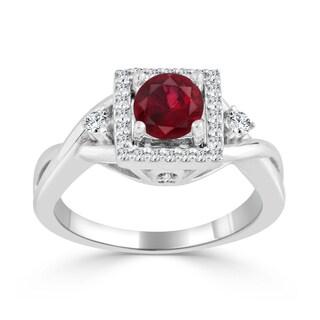 Auriya 14k Gold 1/2ct Ruby and 1/3ct TDW Round Diamond Halo Engagement Ring