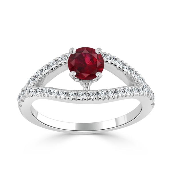 Auriya 14k Gold 2/5ct Ruby and 1/3ct TDW Round Diamond Engagement Ring - Red