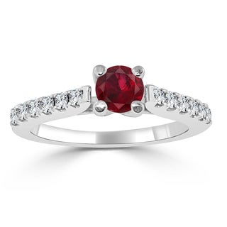 Auriya 14k Gold 1/2ct Ruby and 1/3ct TDW Round Diamond Engagement Ring - Red