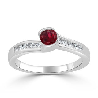 Auriya 14k Gold 1/3ct Ruby and 1/6ct TDW Round Tension Diamond Engagement Ring