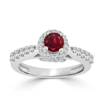 Auriya 14k Gold 2/5ct Ruby and 3/5ct TDW Round Diamond Halo Engagement Ring
