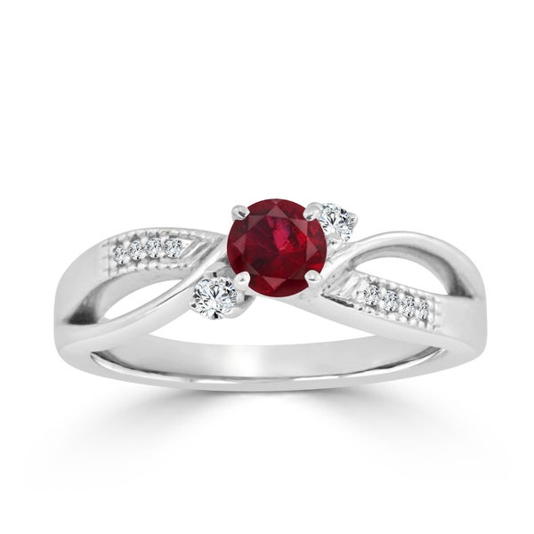 Auriya 14k Gold 2/5ct Ruby and 1/10ct TDW Bypass Diamond Engagement Ring - Red