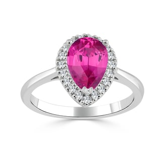 Auriya 14k Gold 1 1/2ct Pear-Shaped Pink Sapphire and 1/6ct TDW Diamond Halo Engagement Ring