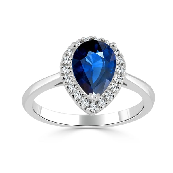 Auriya 14k Gold 1 1/2ct Pear-Shaped Blue Sapphire and 1/6ct TDW Diamond Halo Engagement Ring