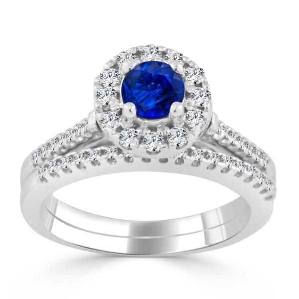 Auriya 14k Gold 2/5ct Blue Sapphire and 1/3ct TDW Round Diamond Halo Wedding Ring Set - N/A