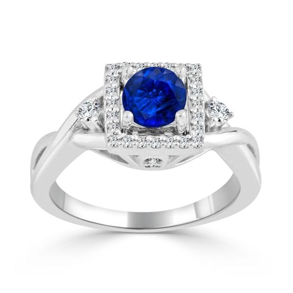 Auriya 14k Gold 1/2ct Blue Sapphire and 1/3ct TDW Round Diamond Halo Engagement Ring