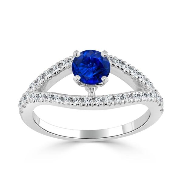 Auriya 14k Gold 2/5ct Blue Sapphire and 1/3ct TDW Round Diamond Engagement Ring