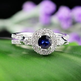Auriya 14k Gold 1/2ct Blue Sapphire and 1/2ct TDW Round Diamond Halo Engagement Ring
