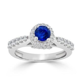 Auriya 14k Gold 2/5ct Blue Sapphire and 3/5ct TDW Round Diamond Halo Engagement Ring
