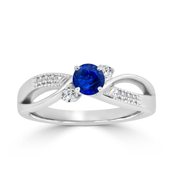 Auriya 14k Gold 2/5ct Blue Sapphire and 1/10ct TDW 3-Stone Diamond Engagement Ring