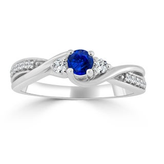 Auriya 14k Gold 1/5ct Blue Sapphire and 1/6ct TDW 3-Stone Diamond Engagement Ring