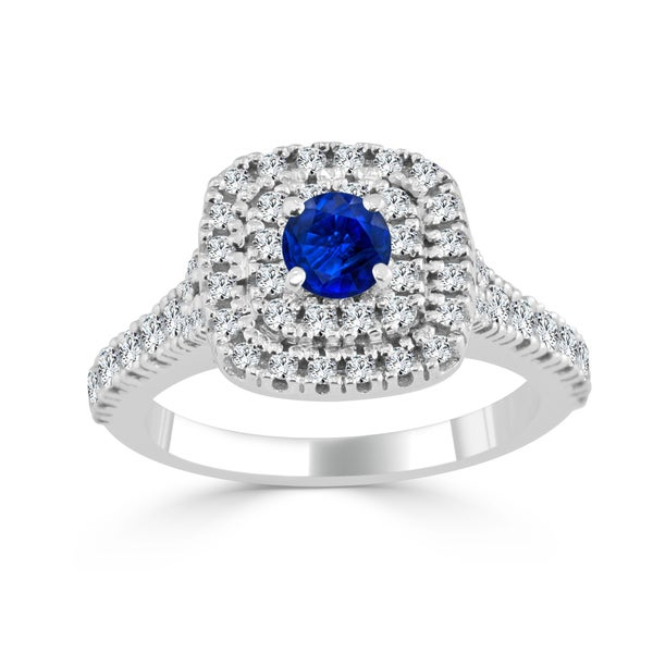 Auriya 14k Gold 2/5ct Blue Sapphire and 3/5ct TDW Double Halo Diamond Engagement Ring